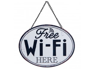Plechová závěsná cedule Free Wifi - 17*13 cm