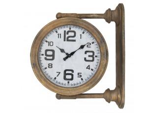 Kovové nástěnné hodiny hnědé - 43*12*37 cm
