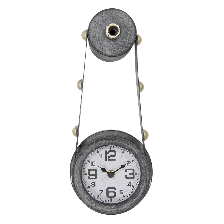 Kovové nástěnné hodiny na kladce šedé - 15*8*34 cm