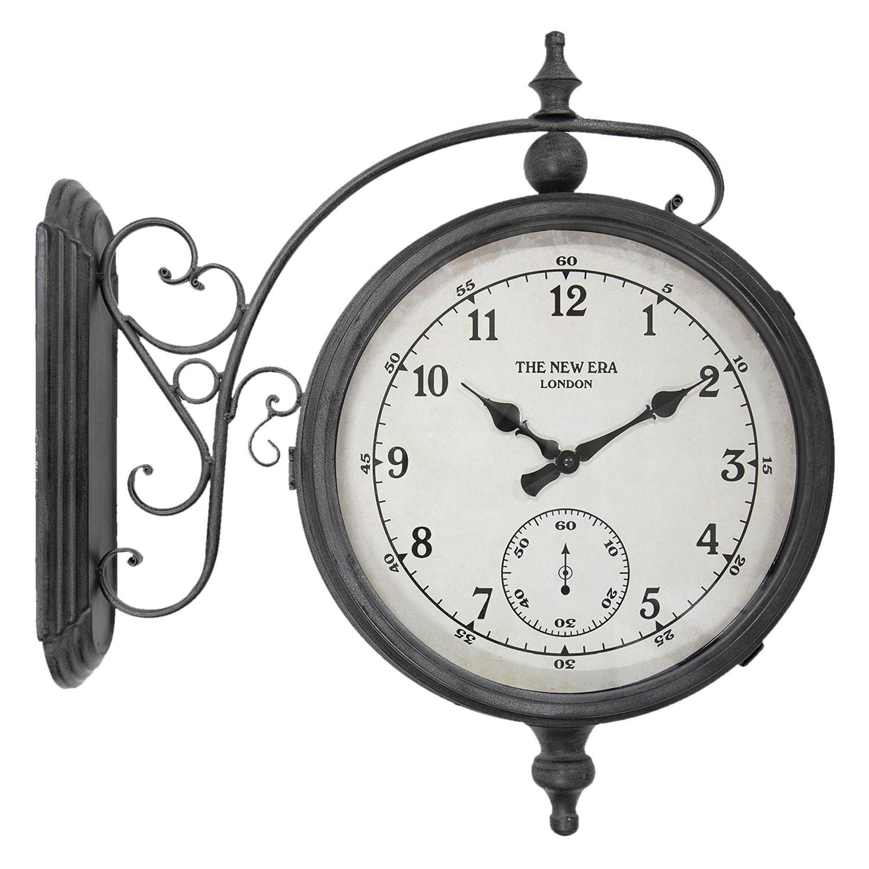 Kovové nástěnné hodiny šedé The new era - 54*55*16 cm