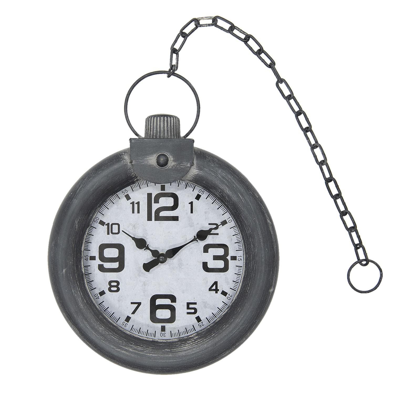 Kovové nástěnné hodiny šedé - 30*8*40 cm/1xAA