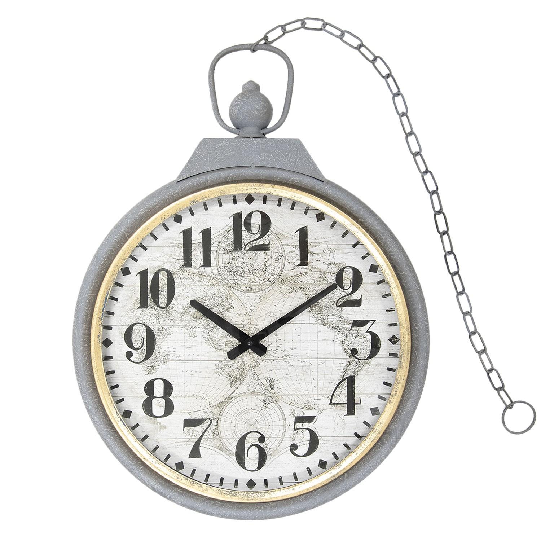 Kovové nástěnné hodiny šedé - 46*5*61 cm/1xAA