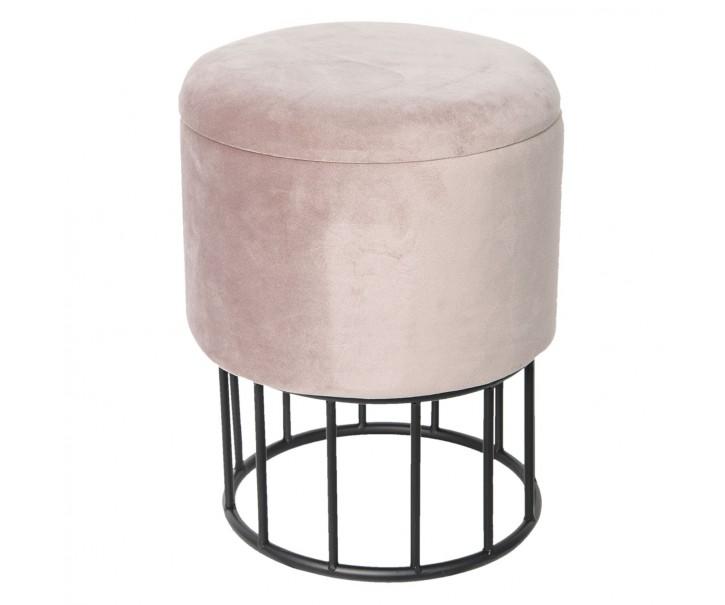Kulatý taburet s úložným prostorem růžový - Ø30*40 cm