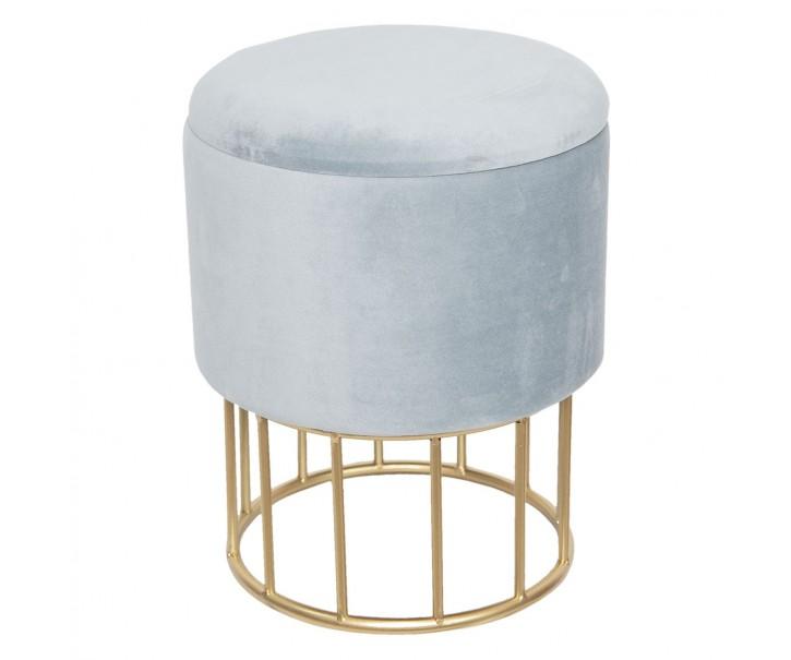 Kulatý taburet s úložným prostorem šedý - Ø30*40 cm