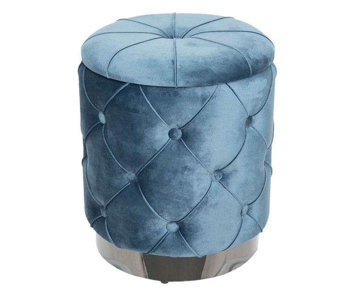 Kulatý taburet s úložným prostorem modrý - Ø34*38 cm