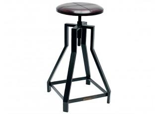 Kovová barová židle s koženým sedákem - Ø43*69cm