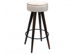 Barová židle Hairon s koženým sedákem - Ø38*77cm