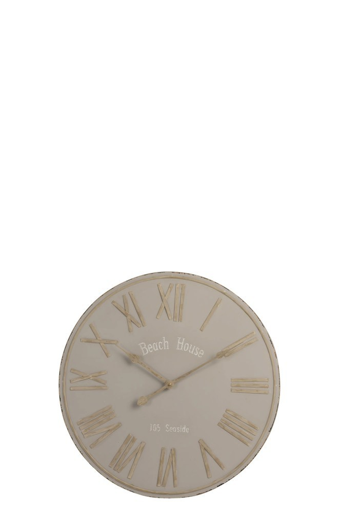 Béžové nástěnné kovové hodiny Beach House - Ø60cm