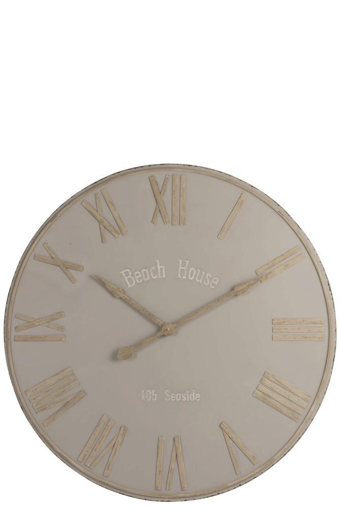Béžové nástěnné kovové hodiny Beach House - Ø92cm