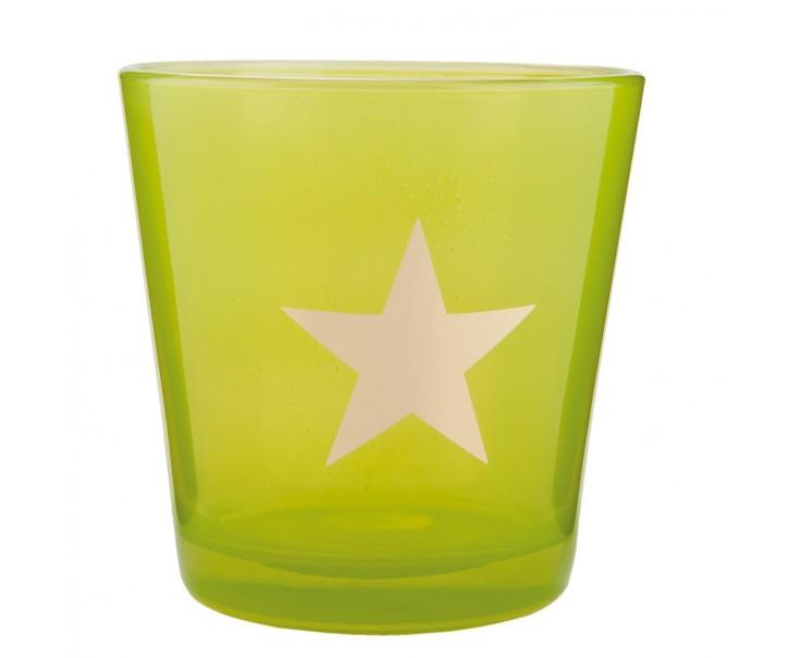 Zelený svícen na čajovou svíčku s hvězdou - Ø 10*10 cm