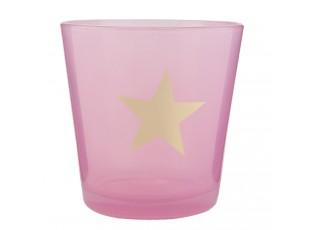 Růžový svícen na čajovou svíčku s hvězdou - Ø 10*10 cm
