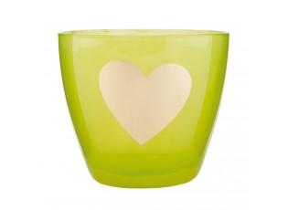 Zelený svícen na čajovou svíčku sesrdíčkem - Ø 9*8 cm