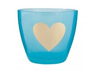 Modrý svícen na čajovou svíčku se srdíčkem - Ø 9*8 cm