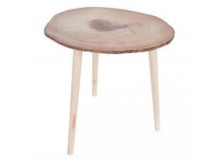 Kulatý dřevěný odkládací stolek - 50*48*46 cm