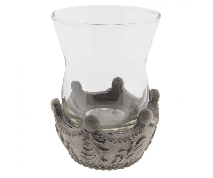 Šedý svícen na čajovou svíčku  - Ø 13*17 cm