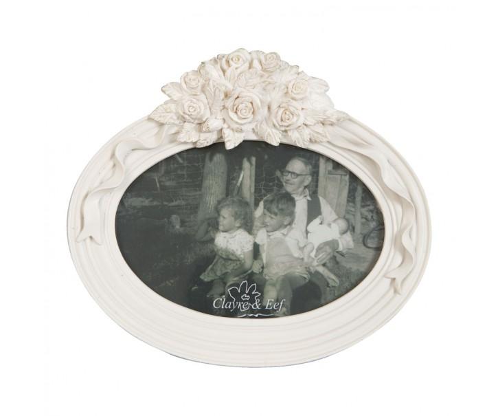 Krémový fotorámeček s květy - 19*17 cm / 13*10 cm