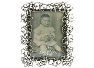 Fotorámeček stříbrný s motýlky - 10*2*12 cm / 6*9 cm