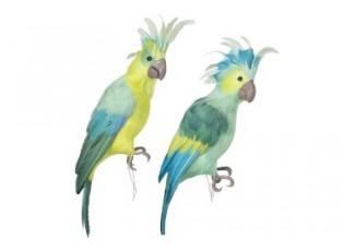 Dekorace zelený papoušek 2ks - 46*13*14cm