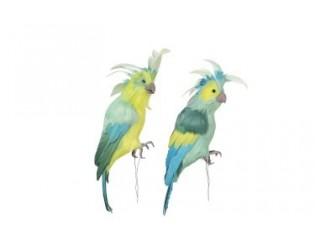 Dekorace zelený papoušek 2ks - 33*9*12cm