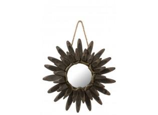 Dřevěné dekorační zrcadlo Flower  - Ø 44*2,5 cm