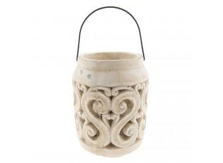 Keramická lucerna s patinou a odřením - Ø 14*19 cm