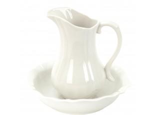 Džbán a mísa bílé barvy pr 24*5 / pr 13*21 cm