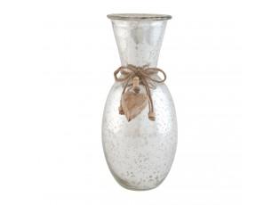 Skleněná váza se srdíčkem - Ø 12*28 cm
