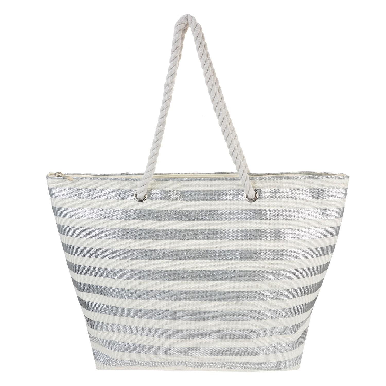 Juleeze Nákupní/plážová taška Silver - 48*35*14 cm