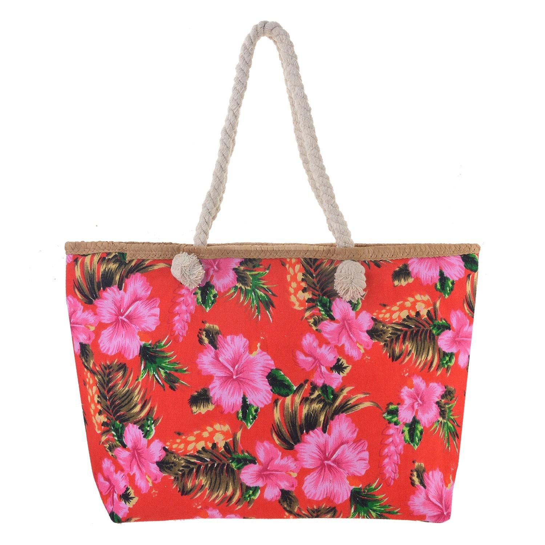 Juleeze Červená nákupní/plážová taška Hawai - 55*33*13 cm