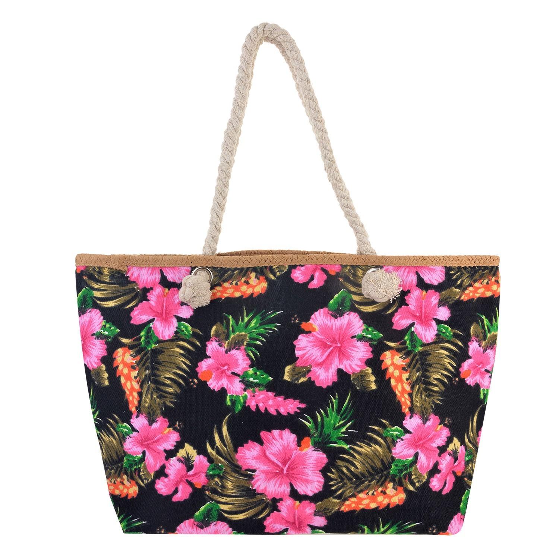 Juleeze Černá nákupní/plážová taška Hawai - 55*33*13 cm