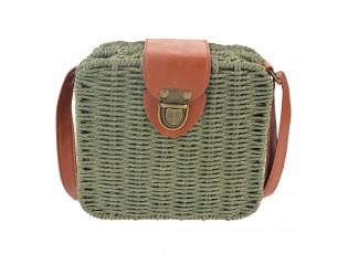 """Zelená """"ratanová"""" kabelka - 18*16*7 cm"""