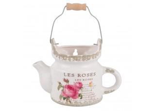 Nástěnná keramická konvička na květiny Les Roses - 20*10*13 cm