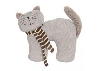 Dveřní zarážka šedá kočka - 36*15*24 cm