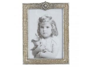 Fotorámeček stříbrný s ozdobou - 16*2*21 cm / 13*18 cm