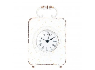 Kovové stolní hodiny bílé s patinou -10*3*16 cm/1xAAA