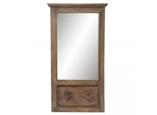 Nástěnné dřevěné zrcadlo s patinou a odřením -  44*9*81 cm