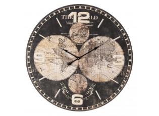 Černé nástěnné hodiny The World - Ø 60*5 cm