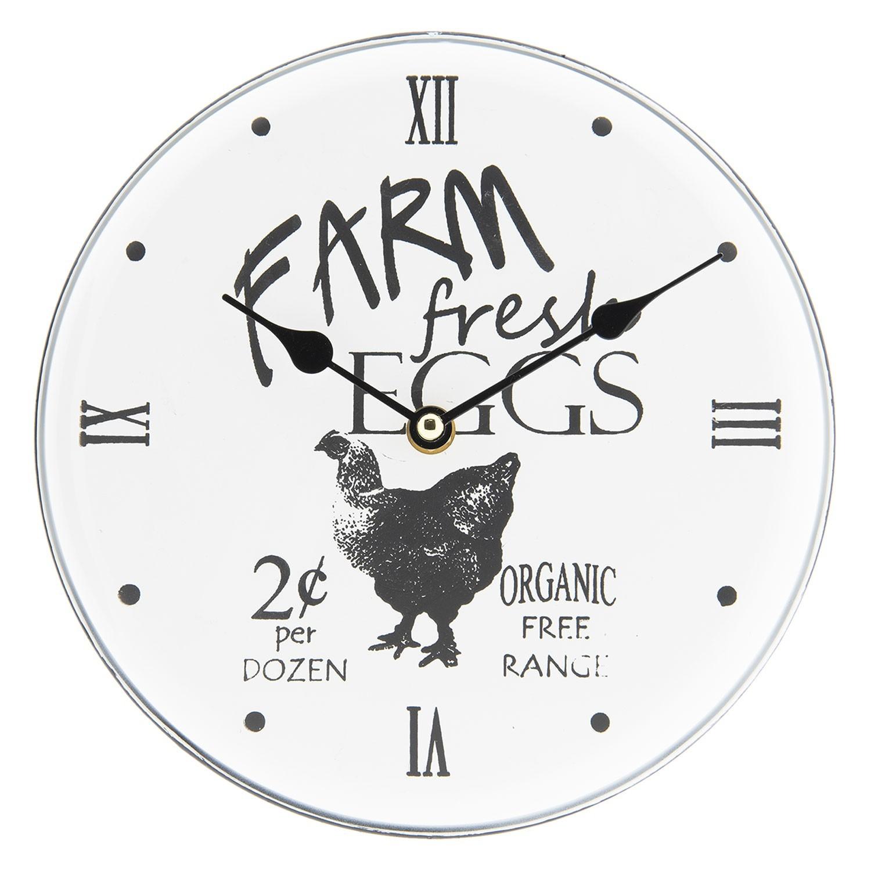 Kovové nástěnné hodiny Farm Fresh Eggs - Ø 23*4 cm