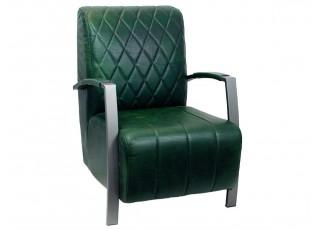 Zelené kožené křeslo Fatima Green - 62*80*85cm