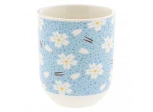 Modrý kalíšek s květy - Ø 6*8 cm / 0,1L