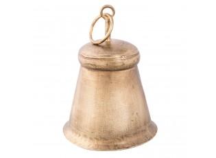 Zlatý kovový zvonek s patinou - Ø11*14cm