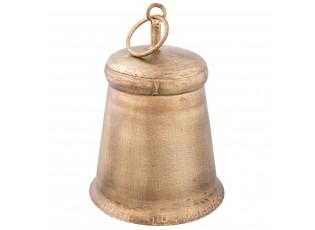 Zlatý kovový zvonek s patinou - Ø 12*16 cm