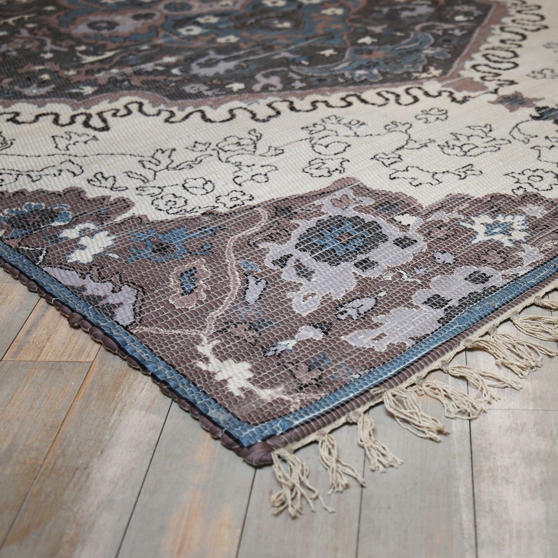 Levně Collectione Modro-přírodní bavlněný koberec Victoria- 160*230cm