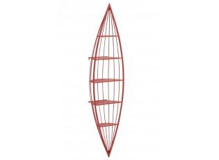 Červená nástěnná kovová police Kanoe - 45*25*187 cm