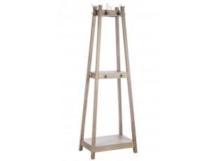 Dřevěný stojící věšák s poličky a háčky - 60*40* 175 cm
