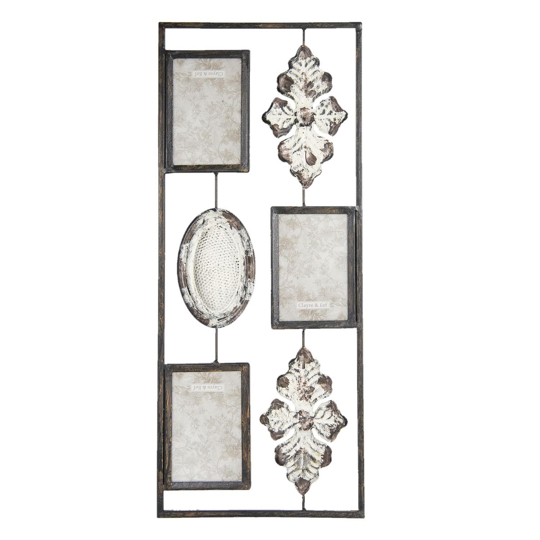 Nástěnná kovová dekorace Fantasy s fotorámečky - 25*2*61 cm
