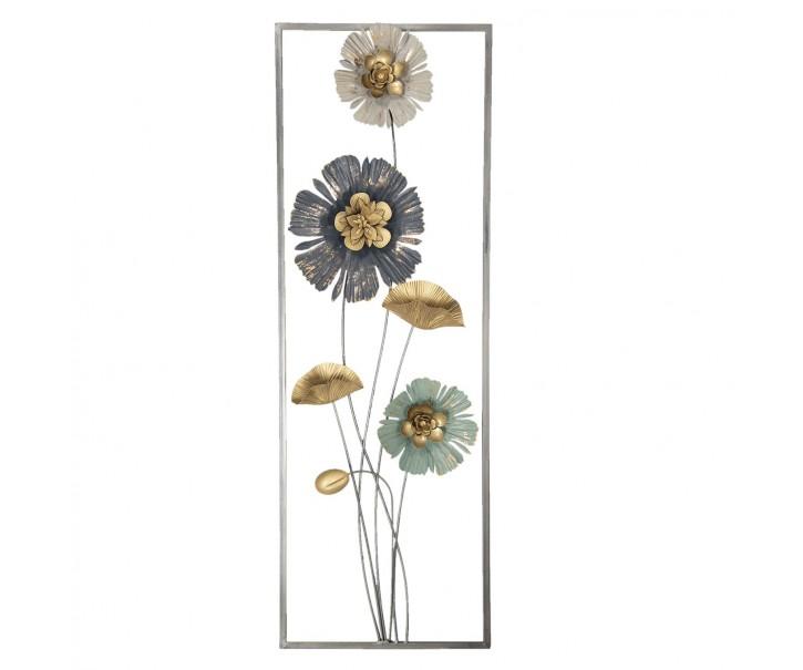 Nástěnná kovová dekorace Flowers - 31*6*90 cm