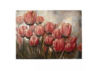Nástěnná kovová dekorace/ obraz Tulips - 100*5*75cm