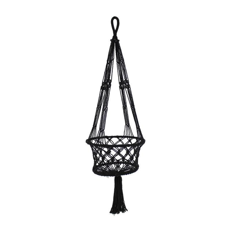 Černý provázkový závěs na květiny - Ø 29*100 cm