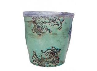 Tyrkyový květináč Zen Ornament  - Ø 16,5*16,5cm